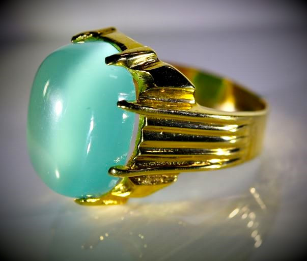 Cats Eye Green Calcite 13.49ct Solid 18K Yellow Gold Ring