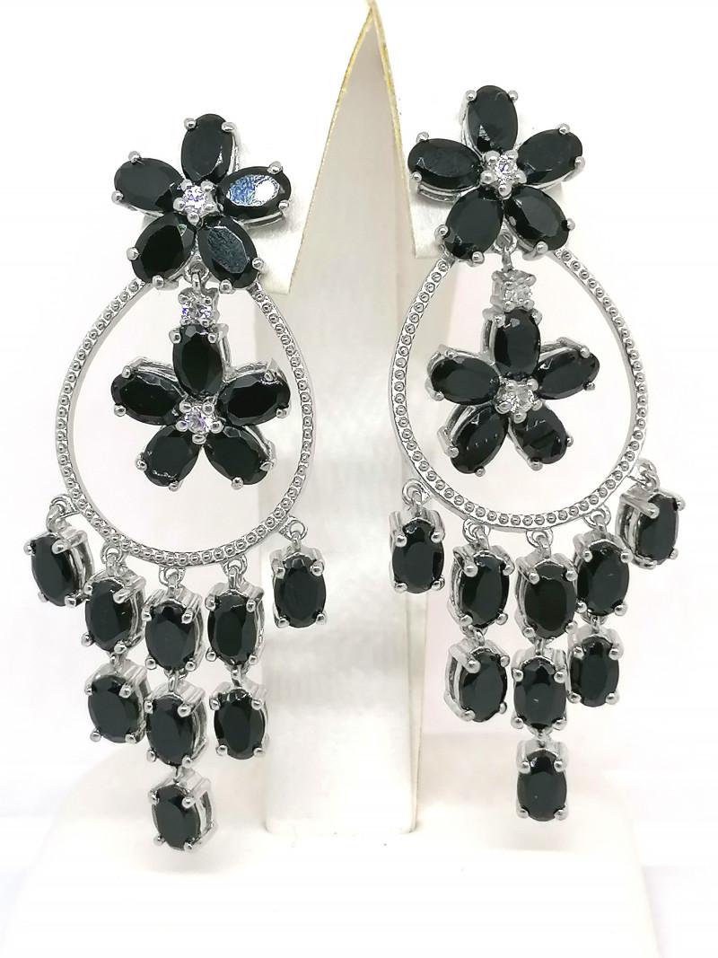 Black Spinel and Zircon Earrings 22.25 TCW
