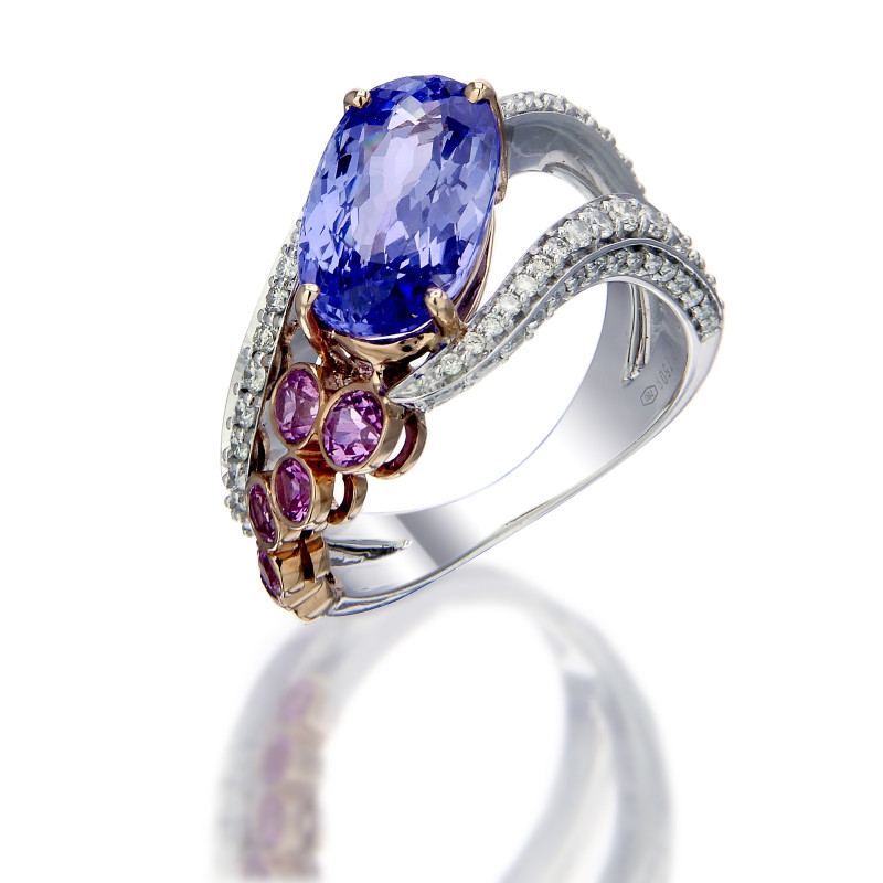 Classic Ring with Diamond, Tanzanite and Pink Sapphire