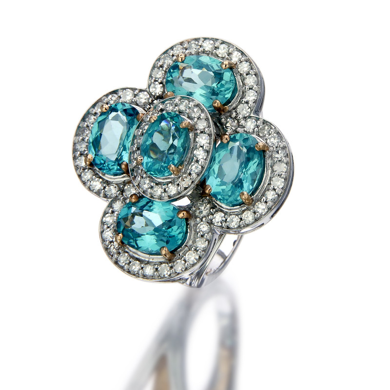 Natural Apatite Classic Ring with Diamond (23385Z)