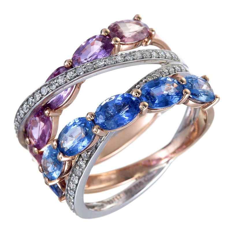 Designer Ring with Natural Sapphires and Diamonds in 18K Gold and Palladium