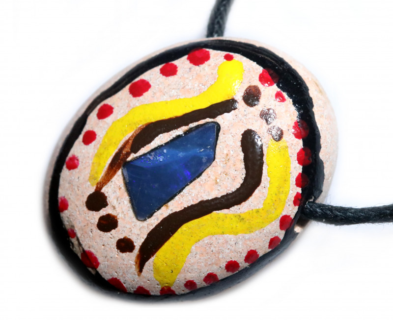 ABORIGINAL PAINTING ON  OPAL PENDANT-ADJ STRAP [SJ4823]