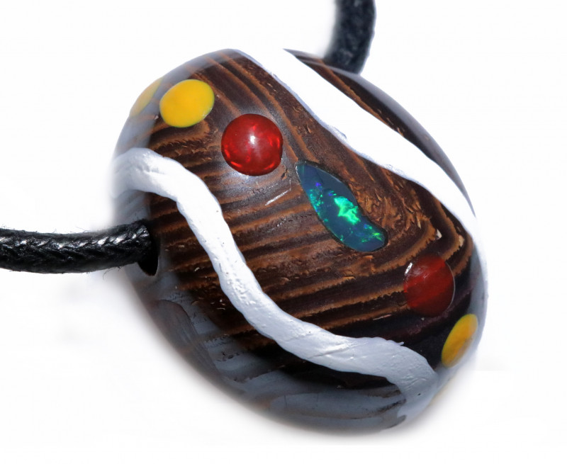 ABORIGINAL PAINTING ON  IRONSTONE OPAL PENDANT-ADJ STRAP [SJ4829]