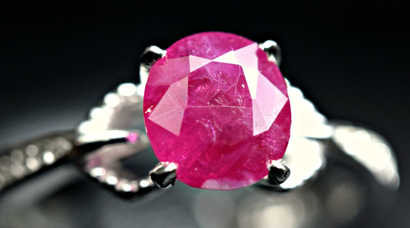 Natural top color Tajik Ruby 925 Silver Ring Size -8