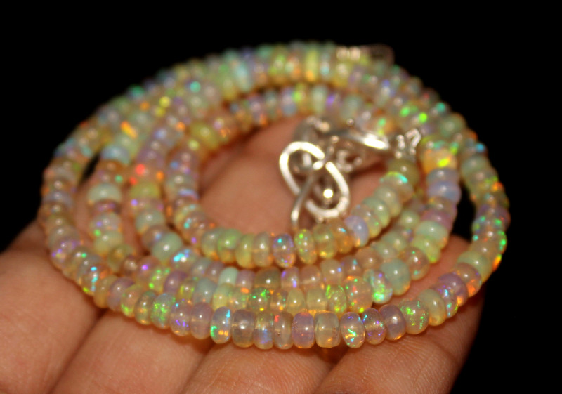 44 Crt Natural Ethiopian Welo Opal Beads Necklace 57