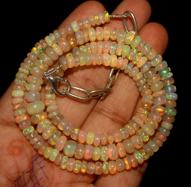 62 Crt Natural Ethiopian Welo Opal Beads Necklace 87