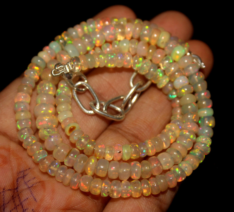 58 Crt Natural Ethiopian Welo Opal Beads Necklace 86