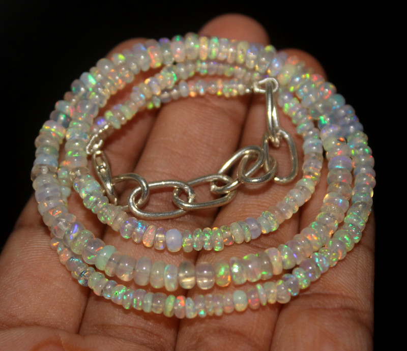 33 Crt Natural Ethiopian Welo Opal Beads Necklace 25