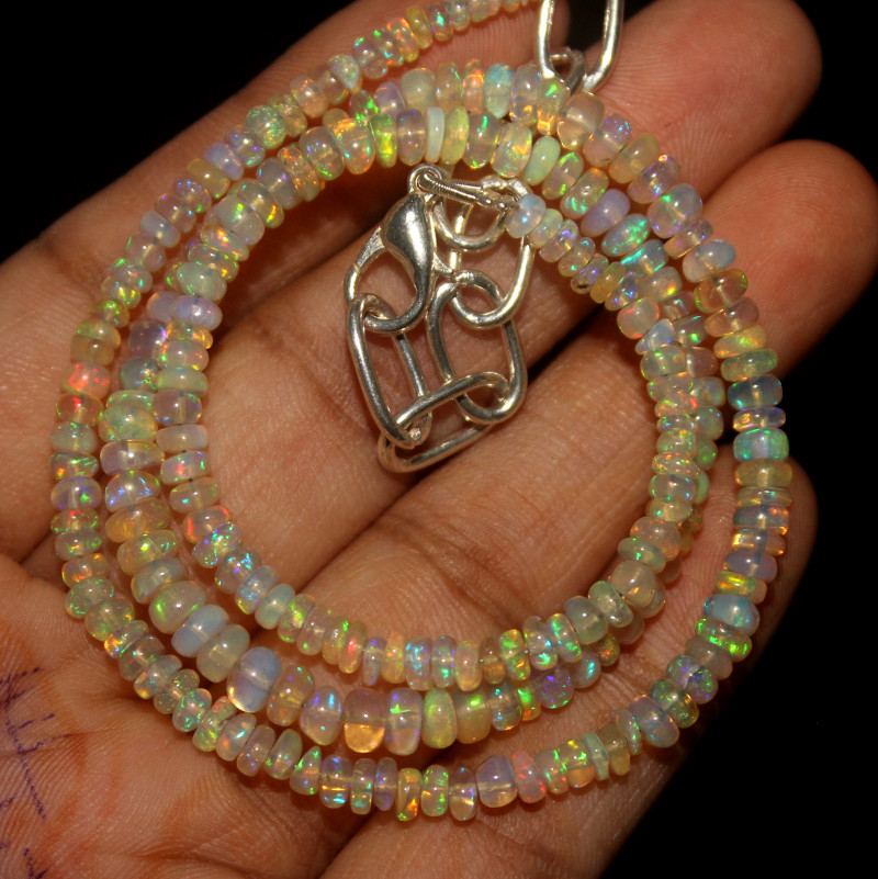32 Crt Natural Ethiopian Welo Opal Beads Necklace 46