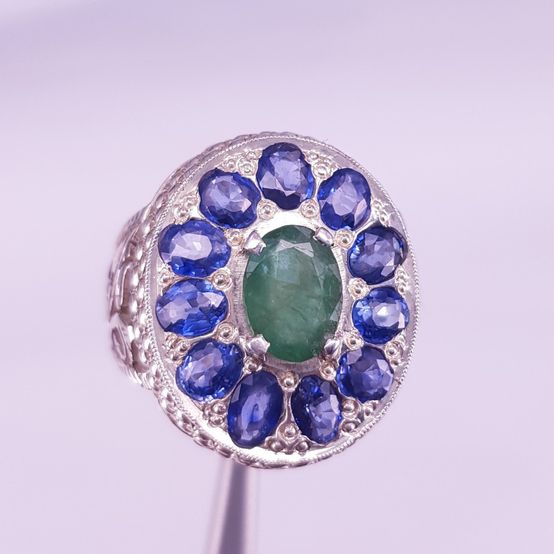Natural Emerald And Sapphires Ring.