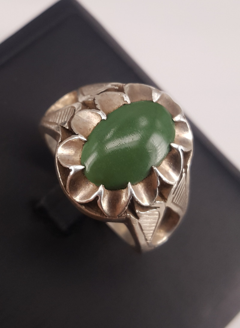 Natural olive Green Turqouise Ring.