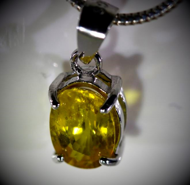 Yellow Sapphire 1.30ct White Gold Finish Solid 925 Sterling Silver Pendant