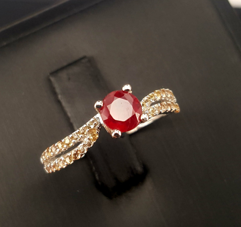 Natural Sapphire And Ruby Ring.