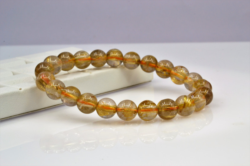 Natural Golden Rutile Quartz 85.80 Cts Bracelet, Top Quality