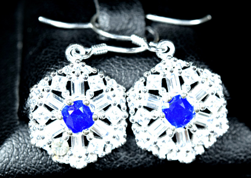 Natural top blue afghanite ,CZ 925 Silver earings