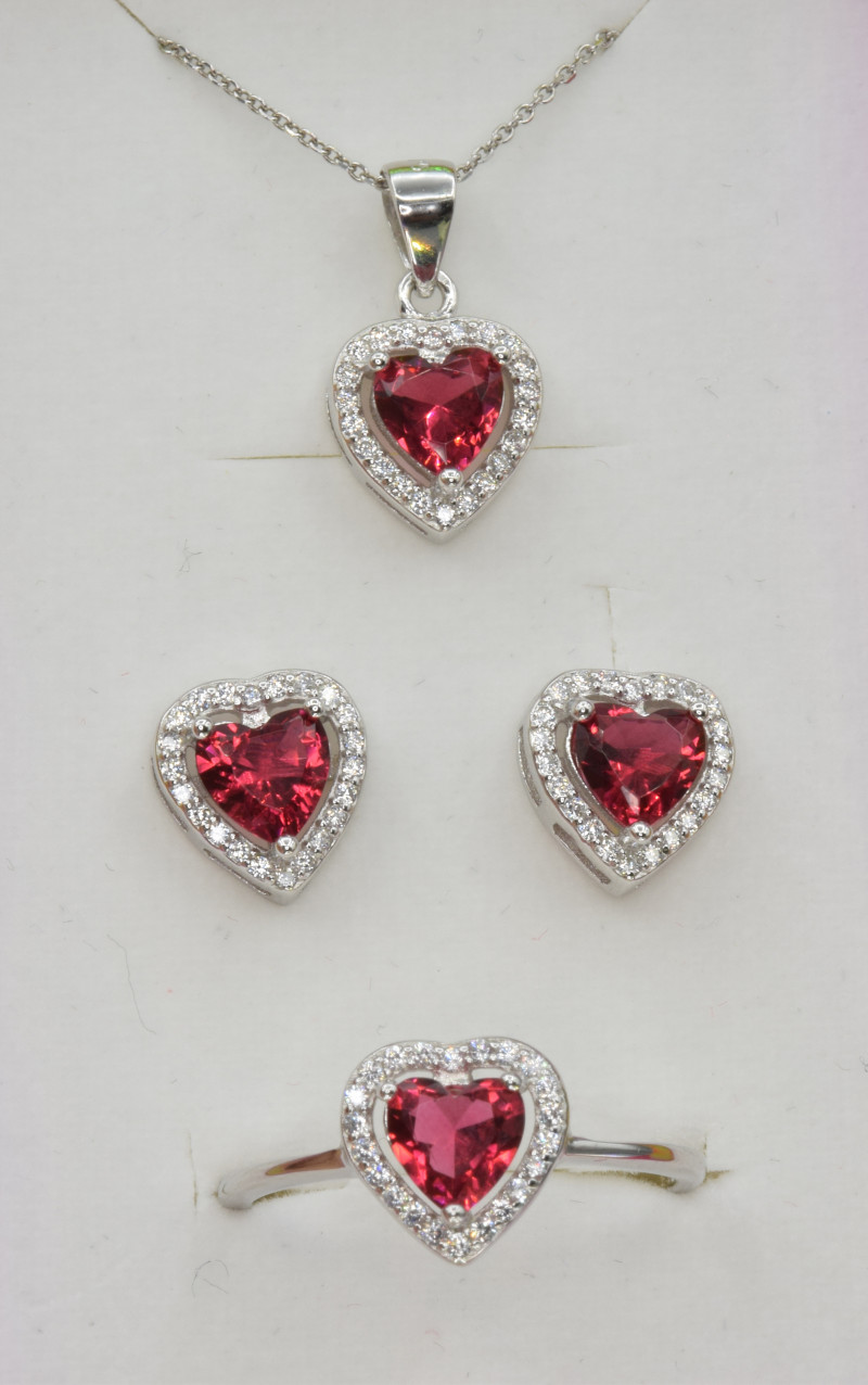 Silver, Imitation  Ruby and CZ Set (Ring , Earring,Neck Necklace and Pe