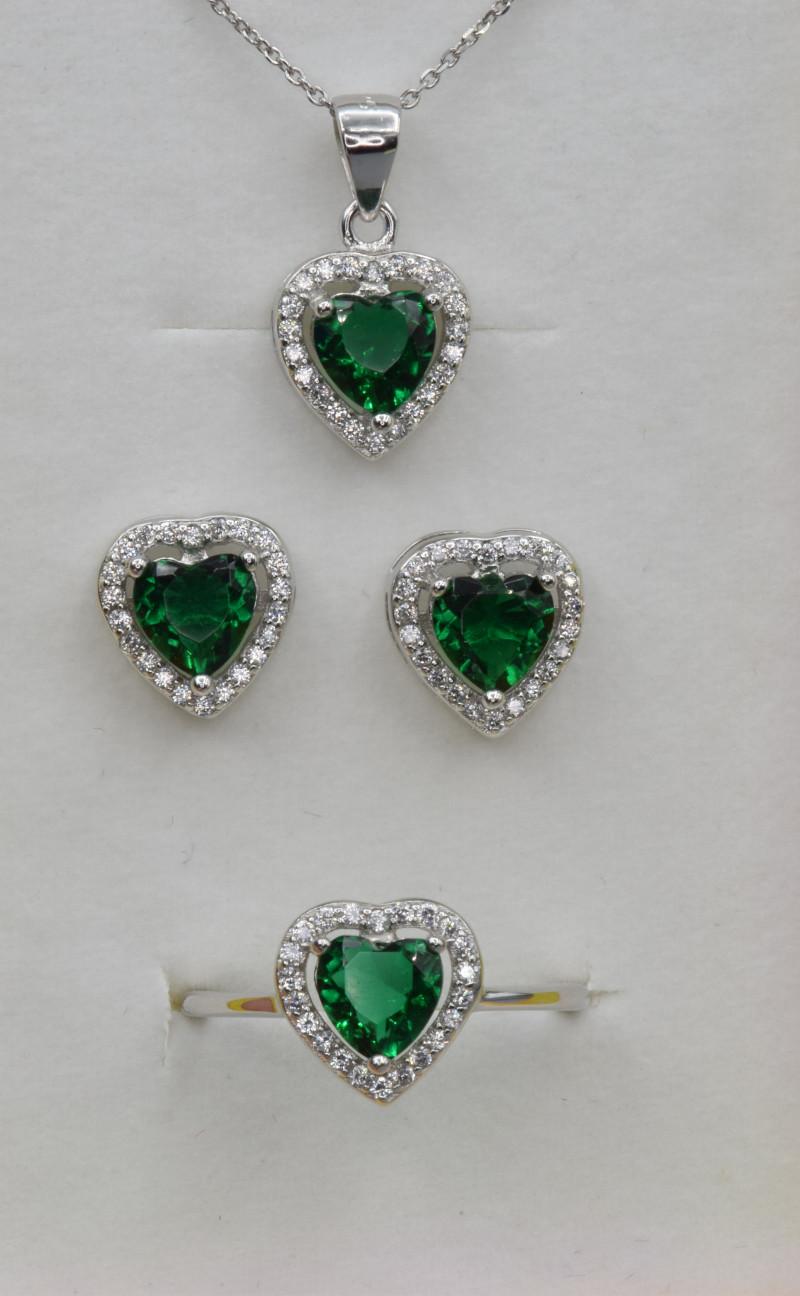 Silver,  Heart shape Imitation Emerald CZ Set (Ring , Earring,Ne