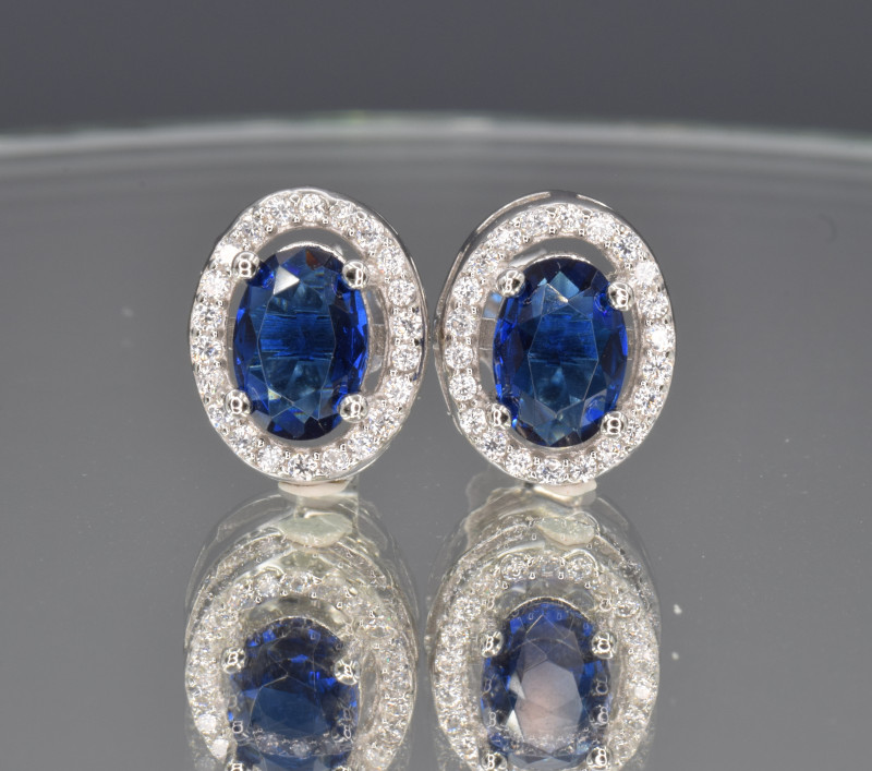 Silver, Imitation Sapphire  CZ Set (Ring , Earring,Neck Necklace and Pendan