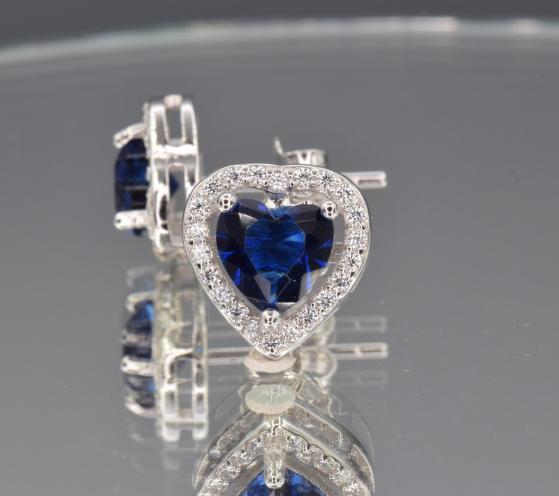 Silver, Imitation Sapphire , CZ Set (Ring , Earring,Neck Necklac