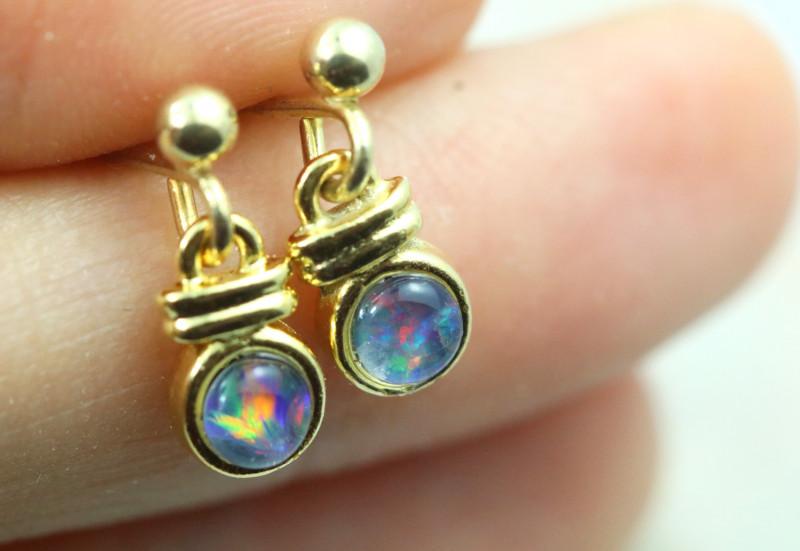 Gem Opal Triplet set in Gold Plate  drop swing Earring  GJC 225