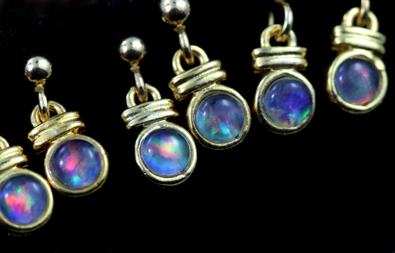 4 xGem Opal Triplet set in Gold Plate  drop swing Earring  GJC 228