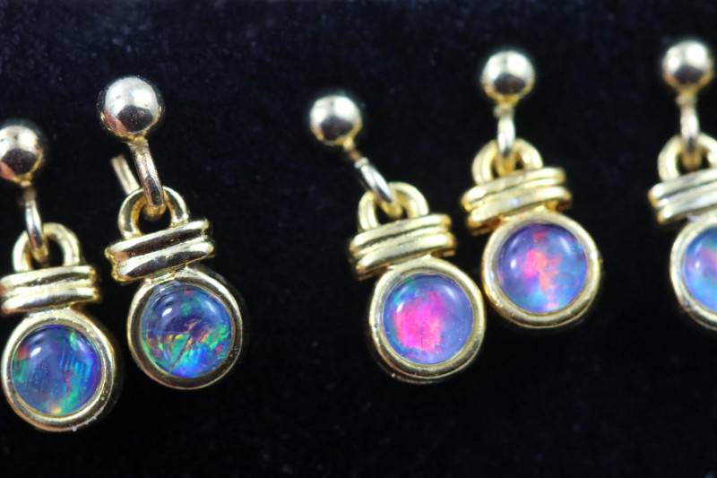 4 xGem Opal Triplet set in Gold Plate  drop swing Earring  GJC 230