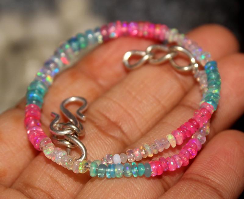 14 Crt Natural Ethiopian Welo Multi Color Opal Bracelet 119