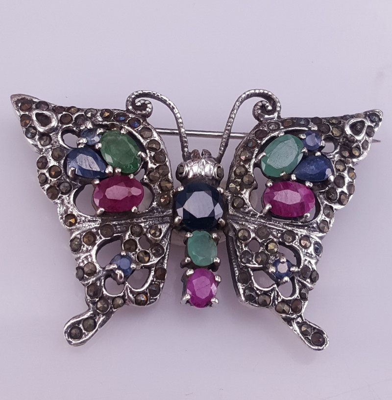 Butterfly Natural Emerald,sapphire and Ruby Brooch.