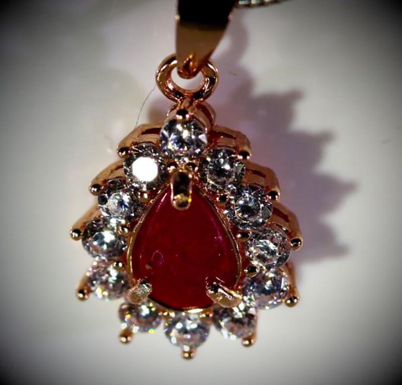 Tajik Ruby 1.02ct Rose Gold Finish Solid 925 Sterling Silver Pendant