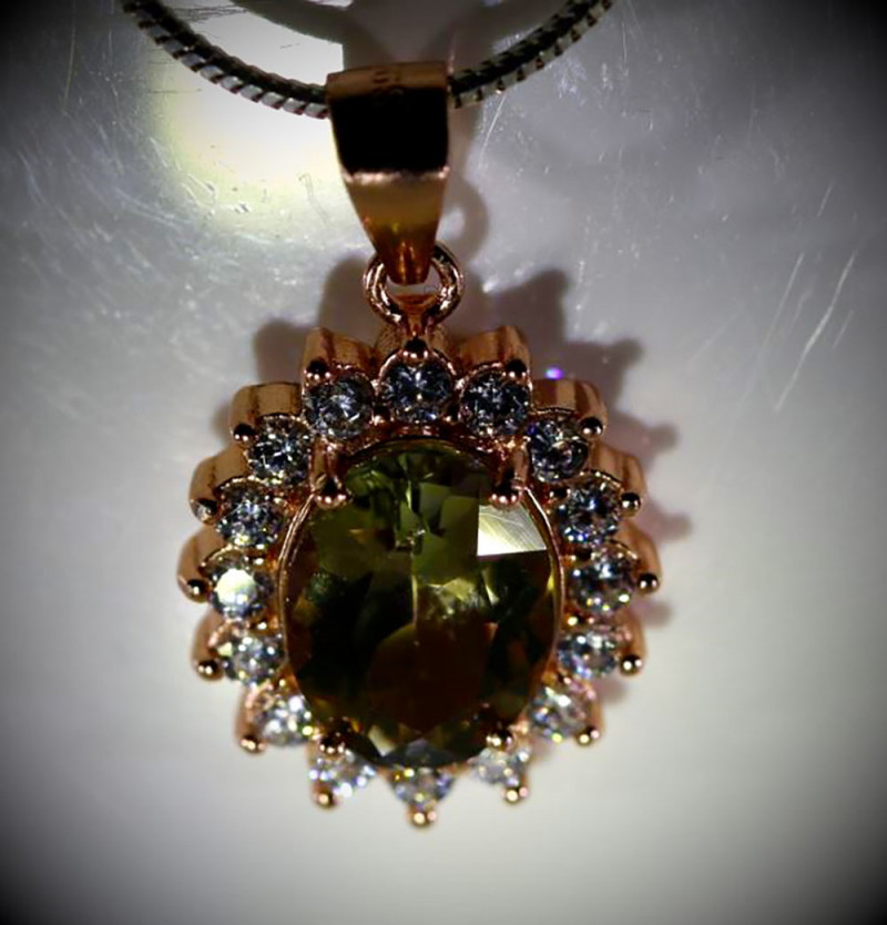 Yellow Green Tanzanite or Zoisite 2.40ct Rose Gold Finish Solid 925 Sterlin