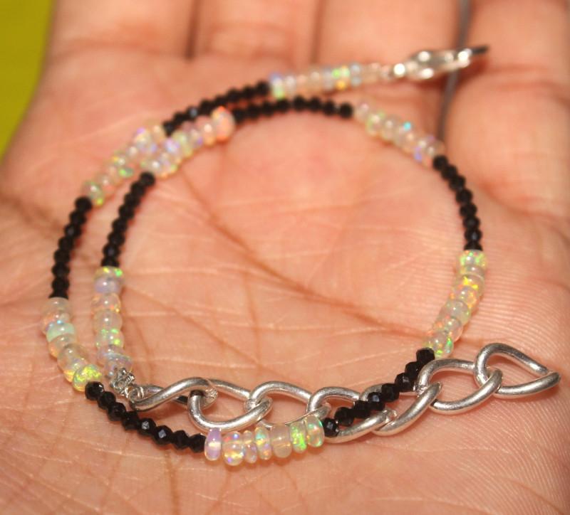 11 Crt Natural Ethiopian Welo Opal & Spinal Bracelet 107