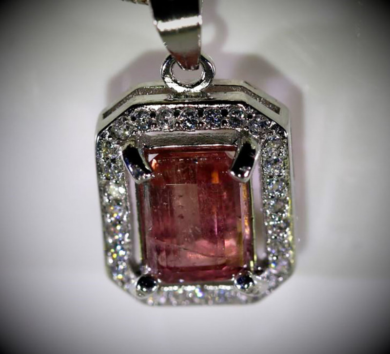Red Tourmaline 2.02ct White Gold Finish Solid 925 Sterling Silver Pendant