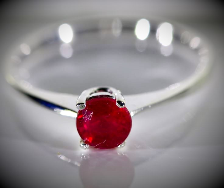 Ruby .47ct Platinum Finish Solid 925 Sterling Silver Ring
