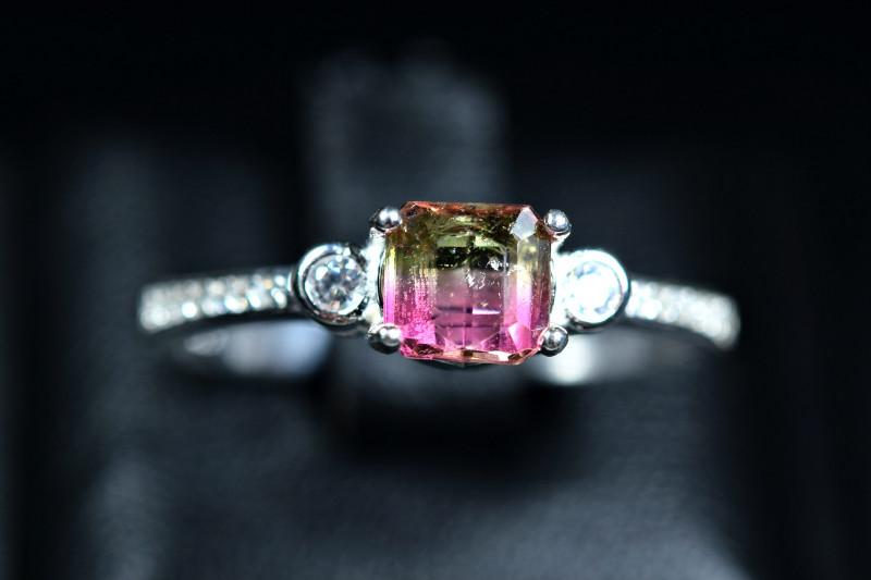Natural top bi Color Amazing Tourmaline  925 Silver Ring