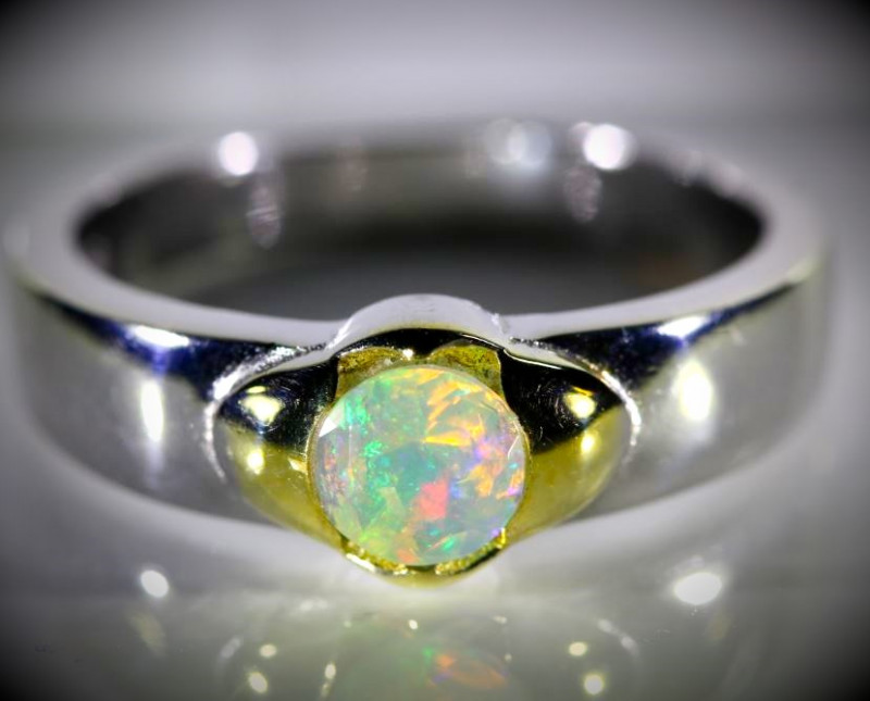Welo Opal .56ct Golden Rhodium Finish Solid 925 Sterling Silver Ring