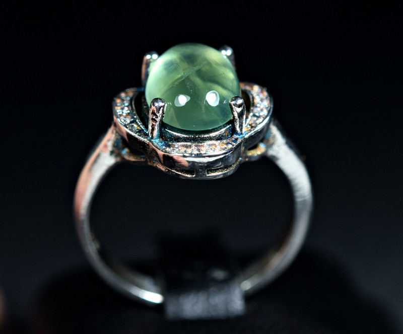 Natural top Prehnite 925 Silver Ring size-8