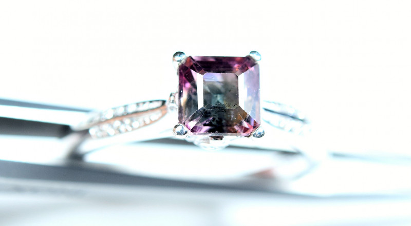Natural top bi Color Amazing Tourmaline 925 Silver Ring