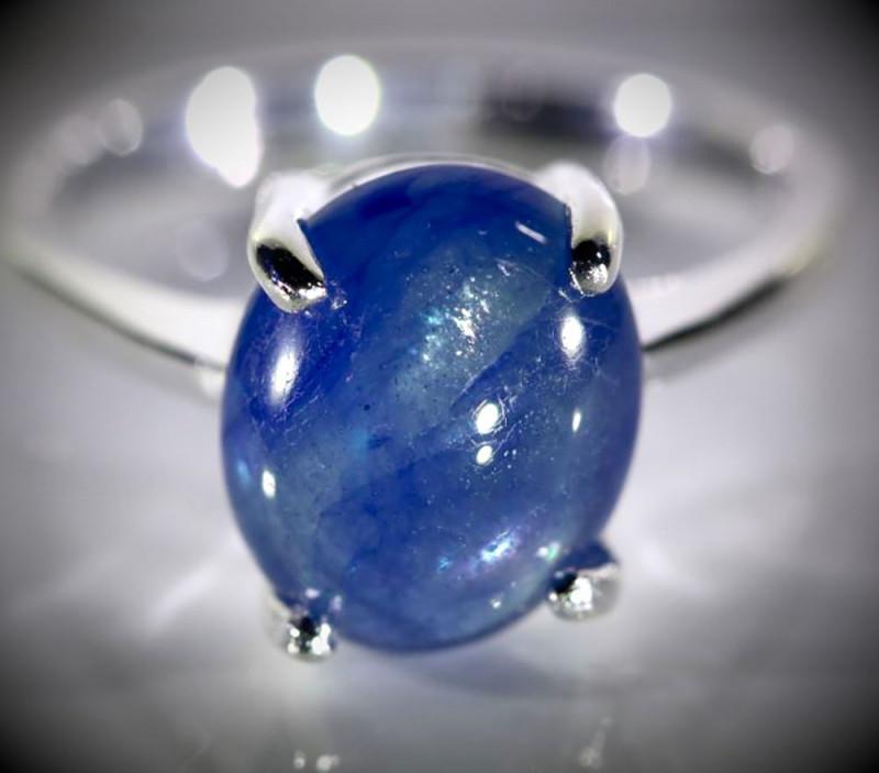 Cornflower Blue Sapphire 4.10ct Platinum Finish Solid 925 Sterling Silver R