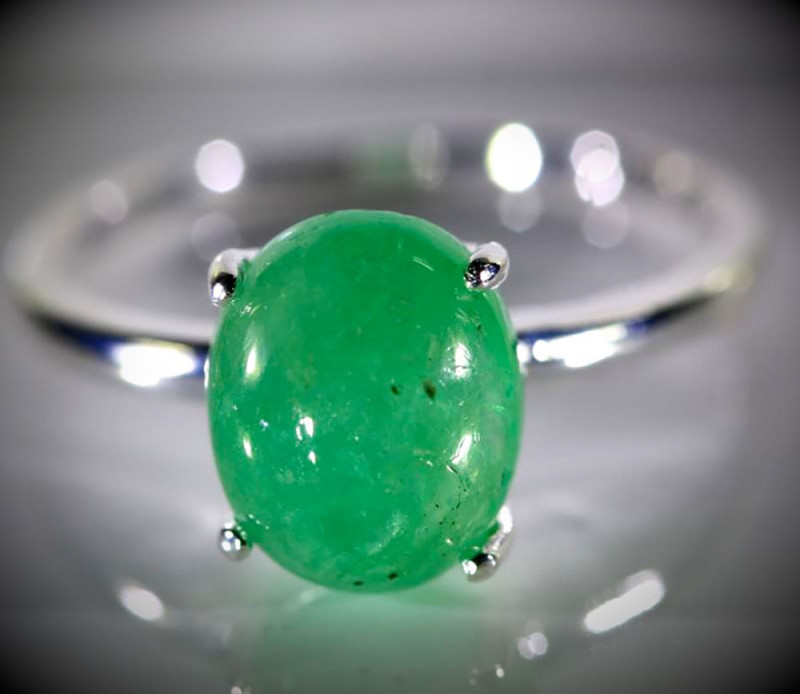 Emerald 3.50ct Platinum Finish Solid 925 Sterling Silver Ring