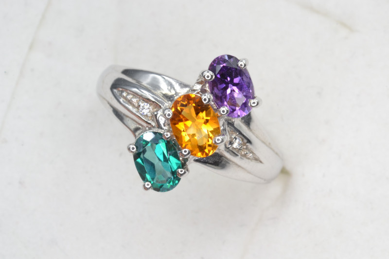 Natural Yellow Sapphire, Amethyst, and Topaz 22.29 Cts Ring