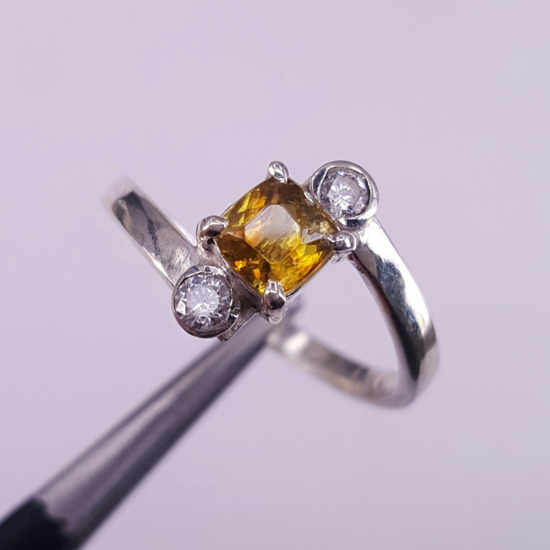 Natural Sphene and CZ Ring