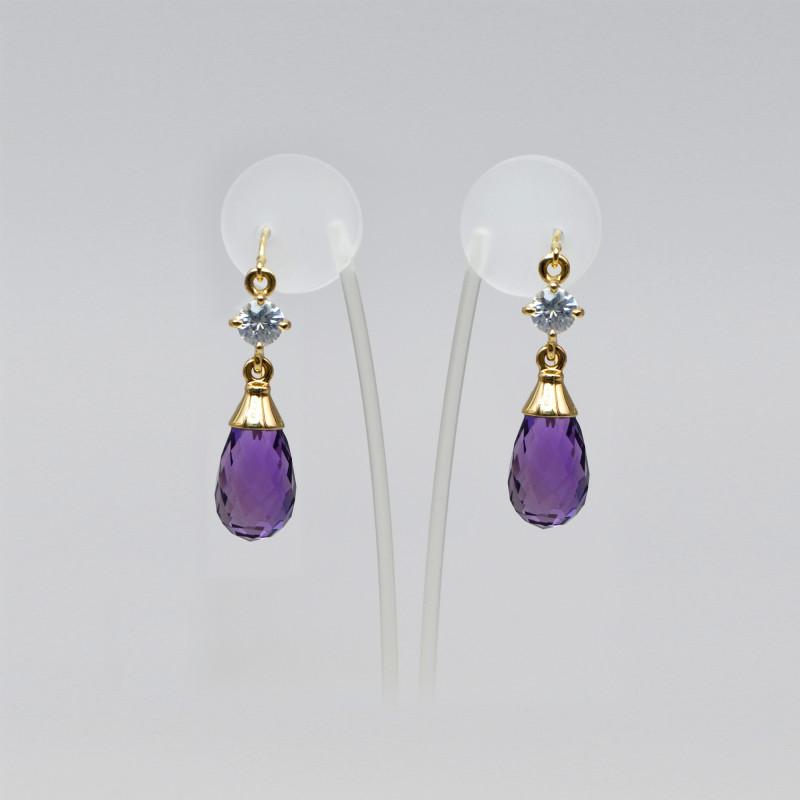 Amethyst Briolette & Zircon Drop Earrings