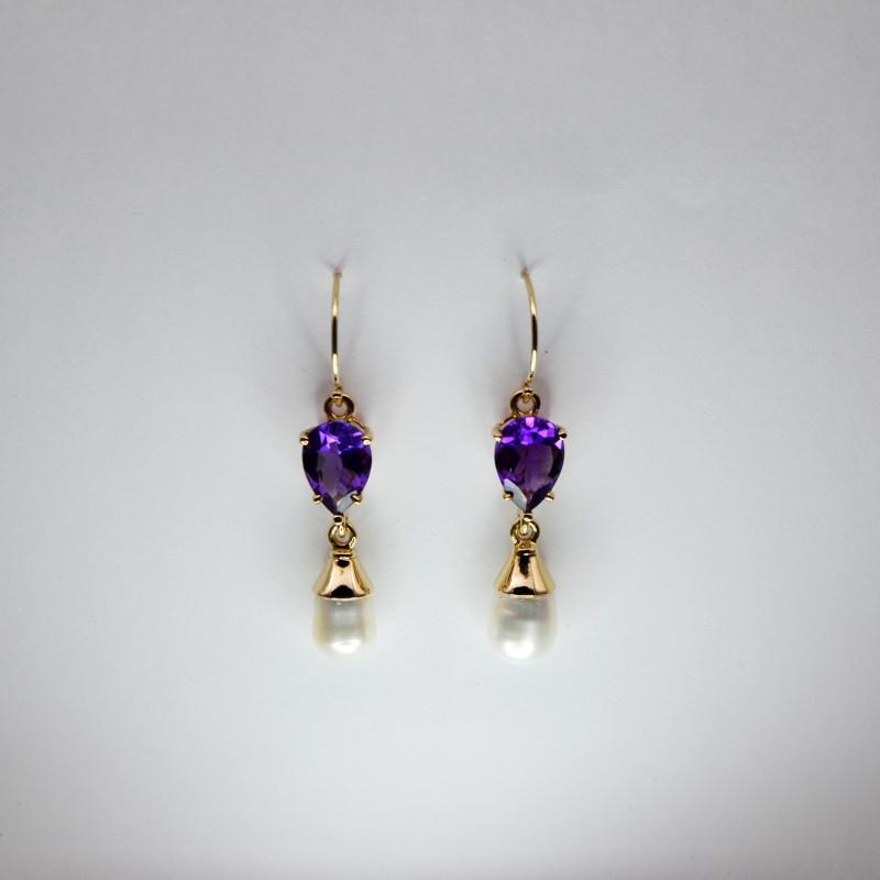 Amethyst & Baroque Pearl Drop Earrings