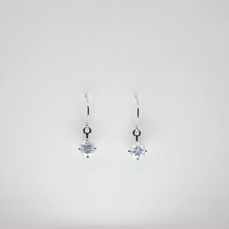 White Zircon Drop Earrings