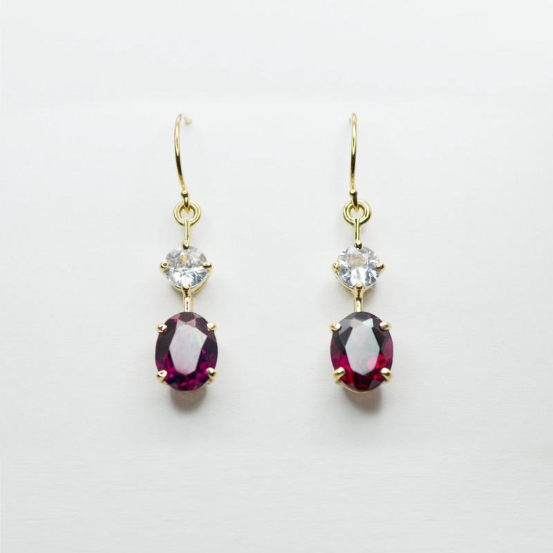 Rhodolite & Zircon Drop Earrings