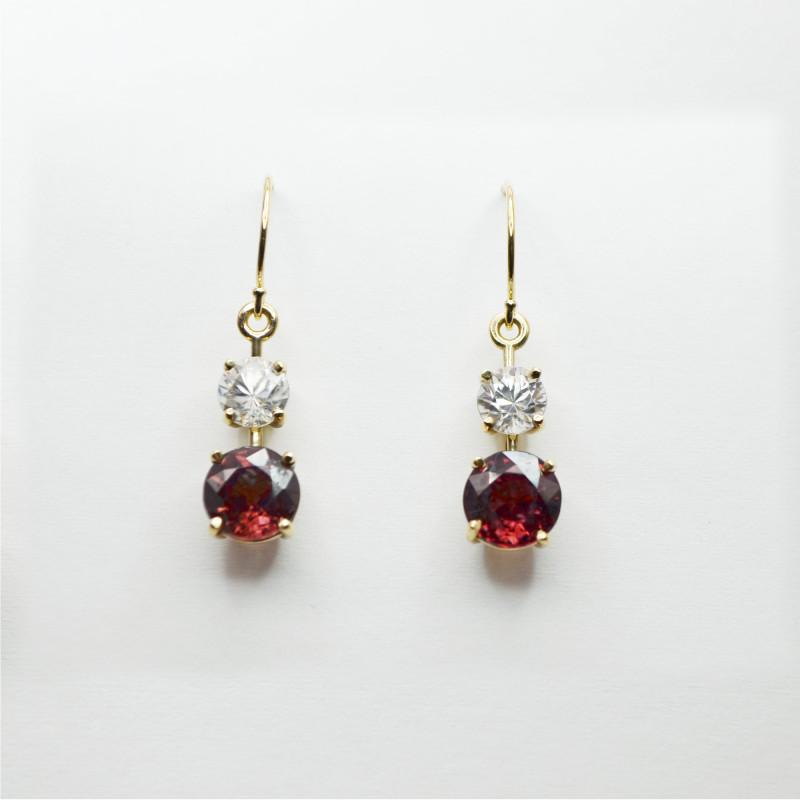 Pink & White Zircon Drop Earrings