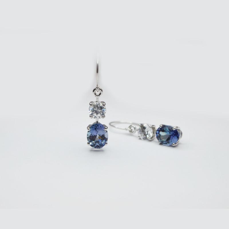 Tanzanite & Zircon Drop Earrings