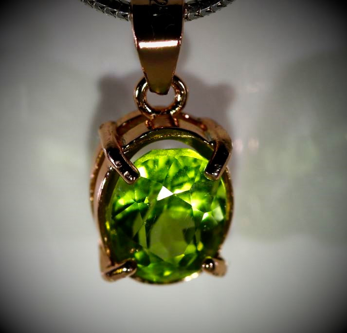 Peridot 1.30ct Rose Gold Finish Solid 925 Sterling Silver Pendant
