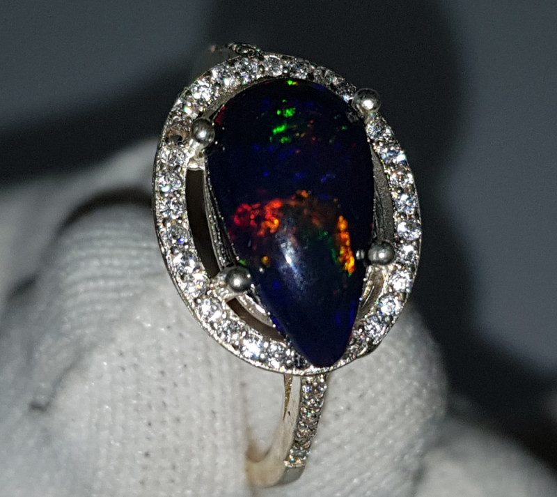 Natural Black Fire Opal 11.00 Carats 925 Starling Silver CZ Ring
