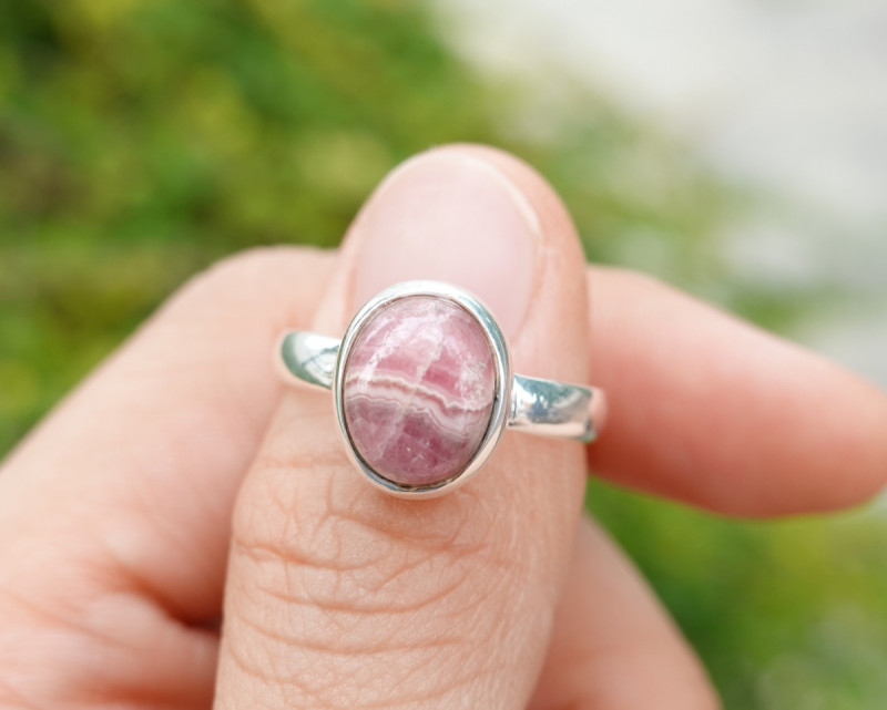 4.55g - 925 Sterling Silver Rings with Natural Agate Stone / JW230